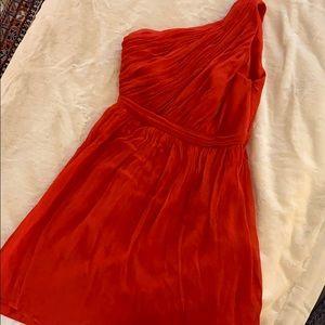 J Crew red chiffon dress